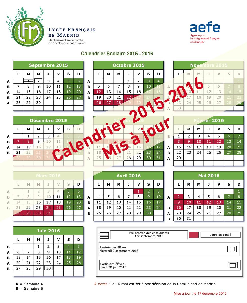 Calendrier scolaire 2015 2016 mis jour lfm - Calendrier scolaire 2015 2016 ...